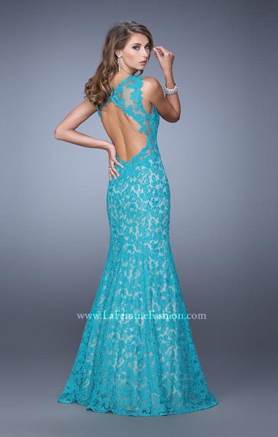 Picture of: Lace Mermaid Prom Dress with Sheer Halter Neckline in Peacock, Style: 21389, Detail Picture 4