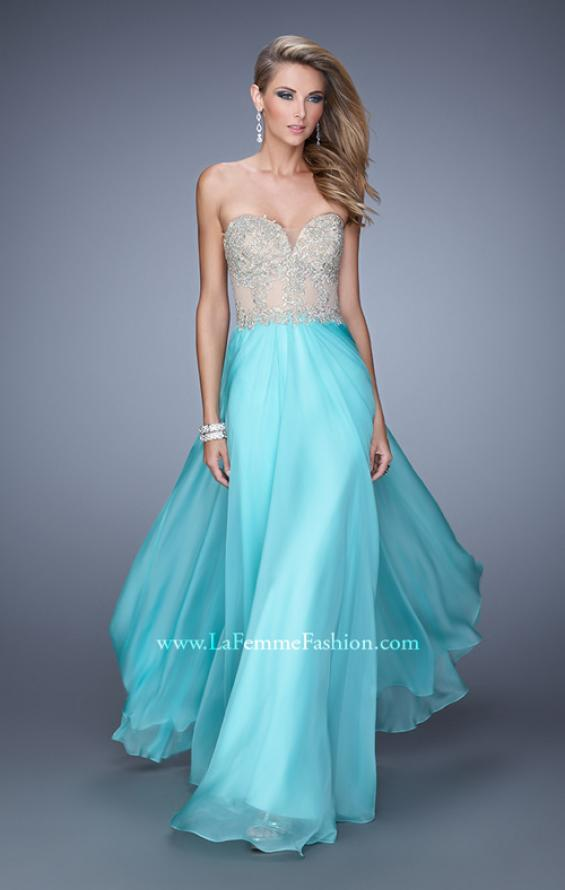 Picture of: Strapless Chiffon Gown with Corset Bodice and Stones, Style: 21390, Main Picture