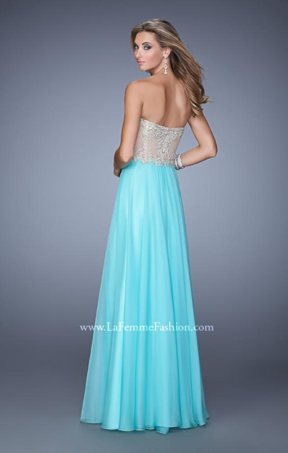 Picture of: Strapless Chiffon Gown with Corset Bodice and Stones, Style: 21390, Back Picture