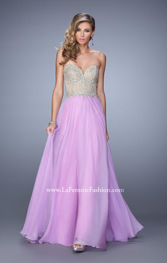 Picture of: Strapless Chiffon Gown with Corset Bodice and Stones, Style: 21390, Detail Picture 1