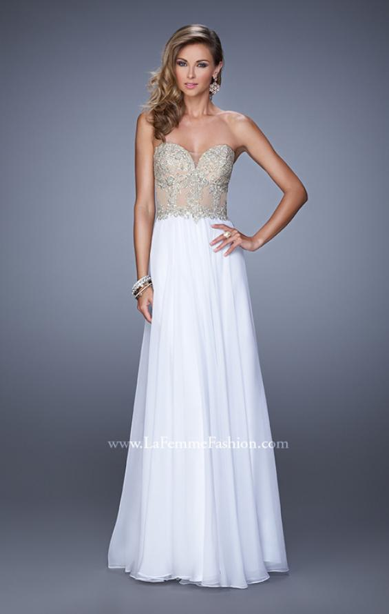Picture of: Strapless Chiffon Gown with Corset Bodice and Stones, Style: 21390, Detail Picture 2