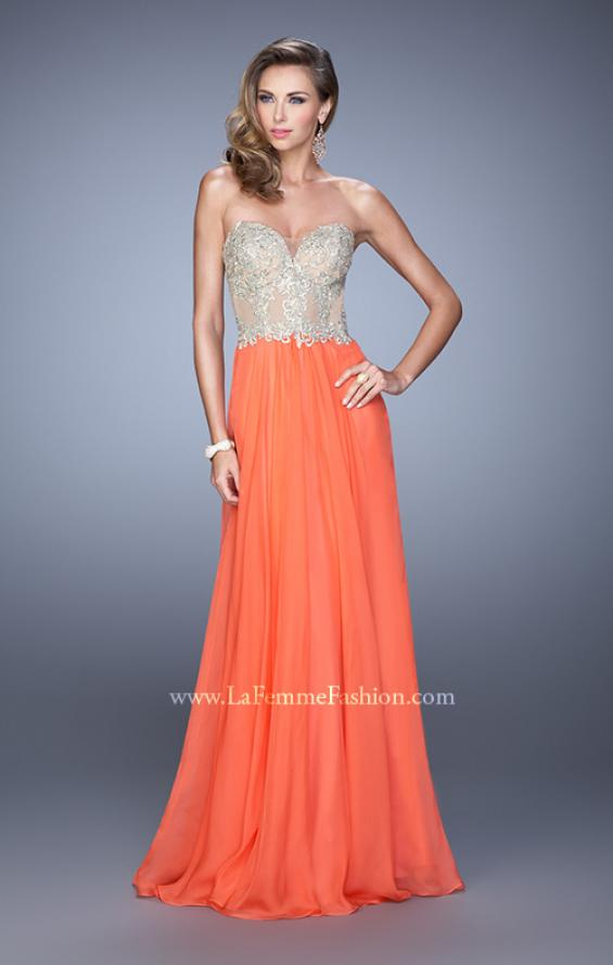 Picture of: Strapless Chiffon Gown with Corset Bodice and Stones, Style: 21390, Detail Picture 3