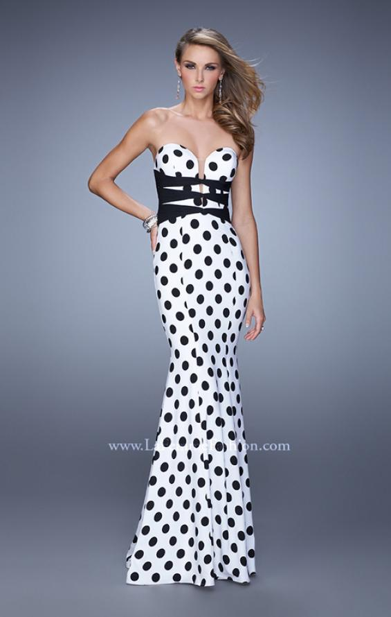 Picture of: Polka Dot Dress with Fit and Flare Skirt and Sheer Detail in Black and White, Style: 21392, Main Picture