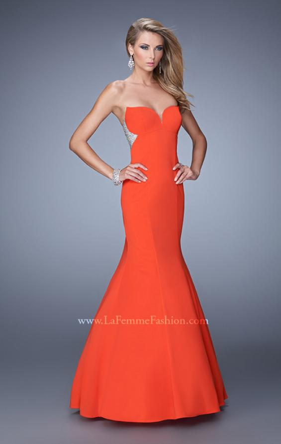 Picture of: Mermaid Prom Gown with Rhinestone Embellishments in Orange, Style: 21396, Main Picture