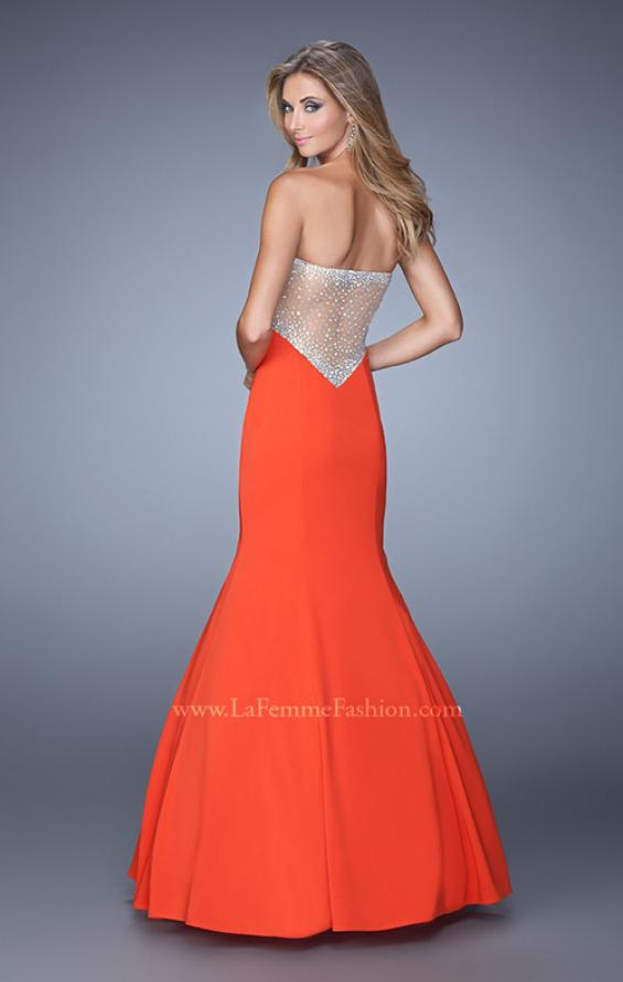 Picture of: Mermaid Prom Gown with Rhinestone Embellishments in Orange, Style: 21396, Back Picture