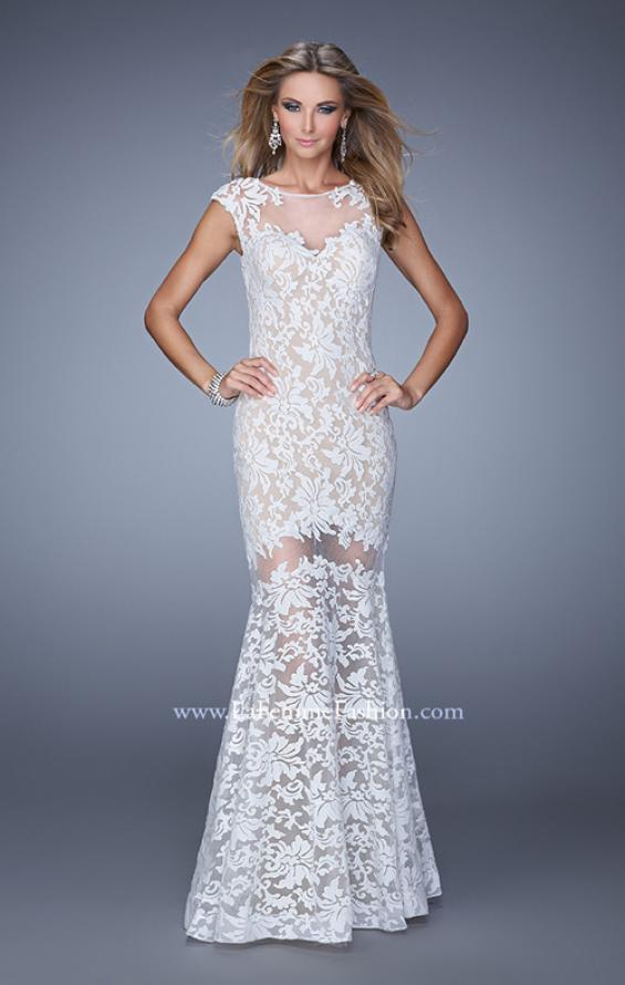 Picture of: Lace Dress with Flared Skirt, Cap Sleeves, and Open Back in White, Style: 21399, Main Picture
