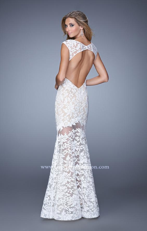 Picture of: Lace Dress with Flared Skirt, Cap Sleeves, and Open Back in White, Style: 21399, Back Picture
