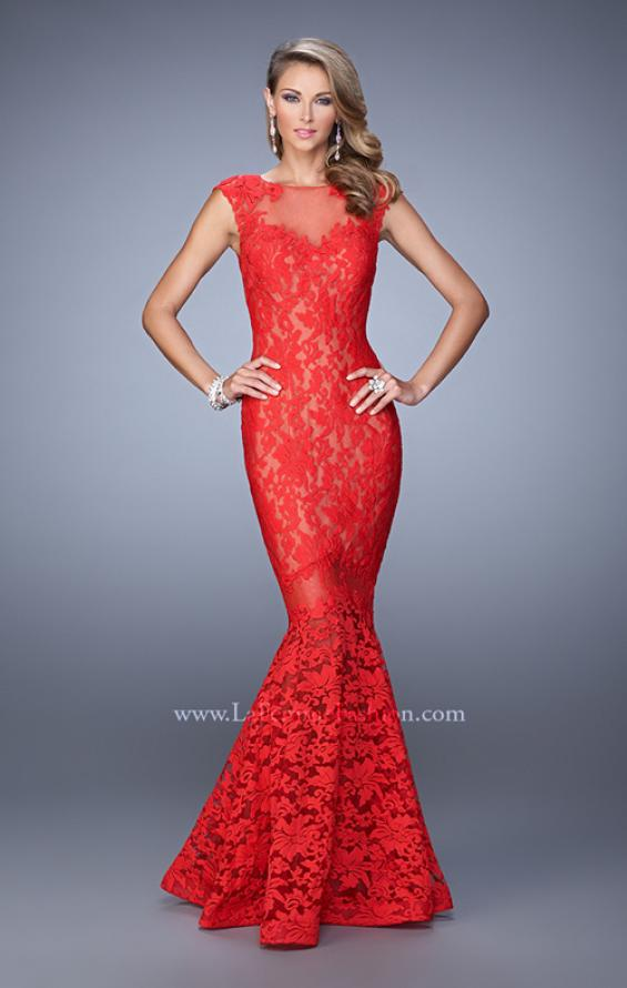 Picture of: Lace Dress with Flared Skirt, Cap Sleeves, and Open Back in Red, Style: 21399, Detail Picture 1