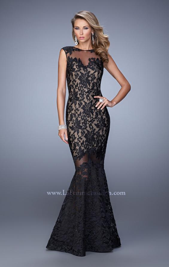 Picture of: Lace Dress with Flared Skirt, Cap Sleeves, and Open Back in Black, Style: 21399, Detail Picture 2