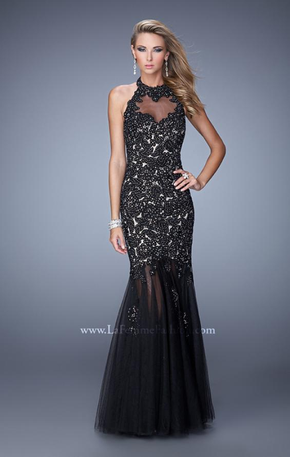 Picture of: Sheer Halter Mermaid Prom Dress with Lace Appliques, Style: 21400, Main Picture