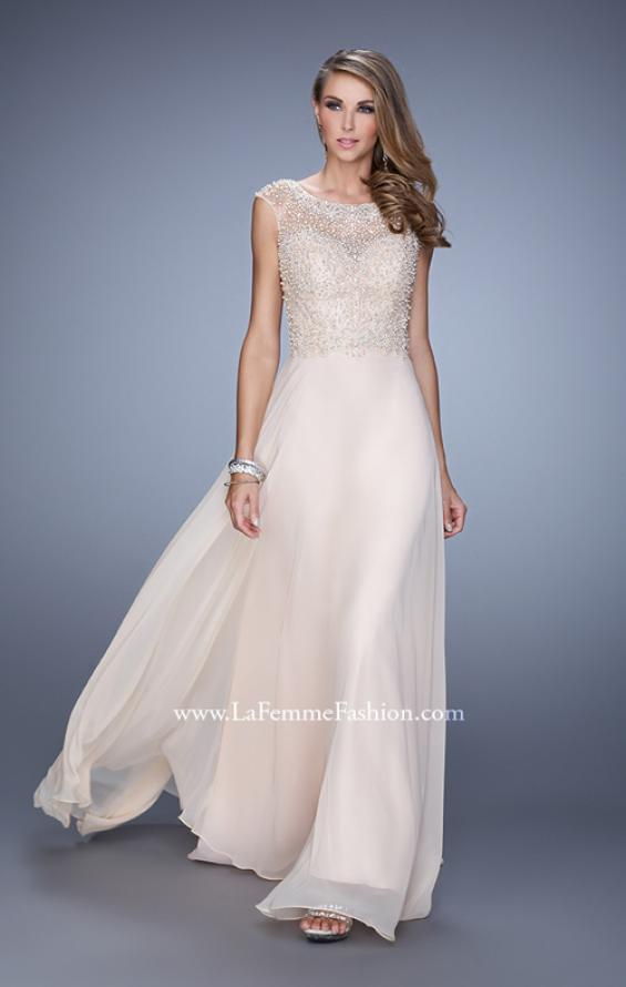 Picture of: Cap Sleeve Chiffon Dress with Stones, Beads, and Pearls, Style: 21414, Main Picture