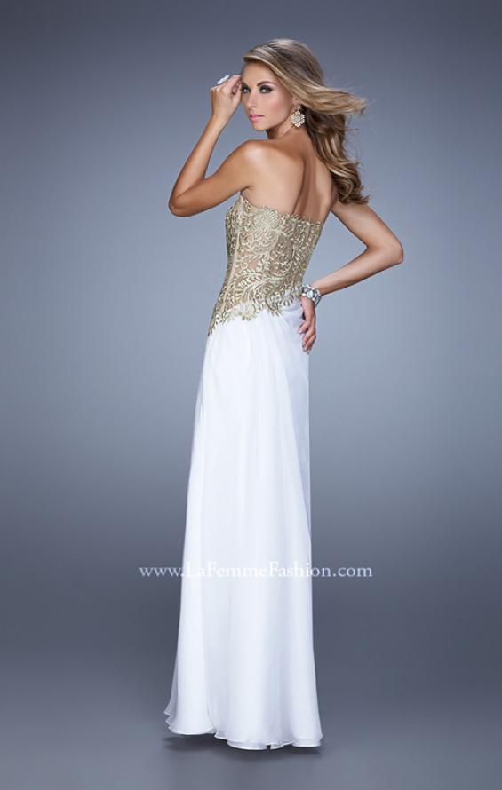 Picture of: Strapless Chiffon Dress with Sheer Corset Bodice, Style: 21437, Back Picture