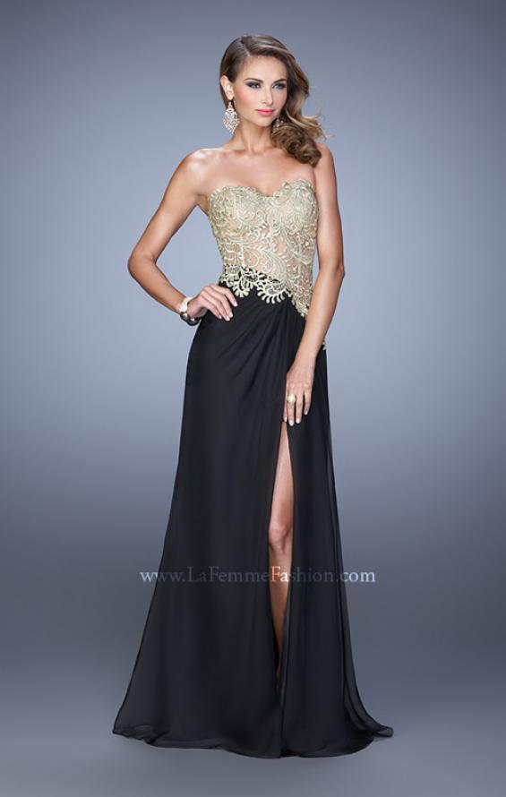 Picture of: Strapless Chiffon Dress with Sheer Corset Bodice, Style: 21437, Detail Picture 1
