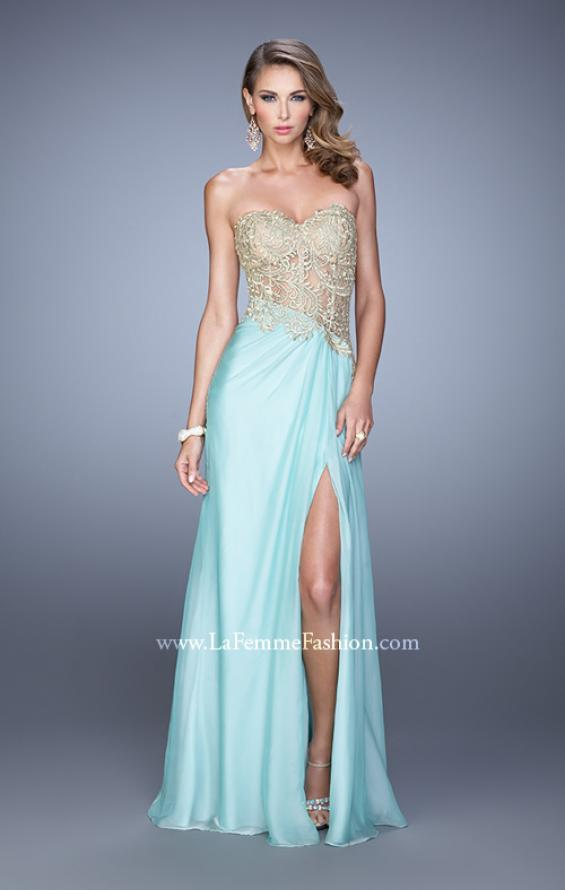 Picture of: Strapless Chiffon Dress with Sheer Corset Bodice, Style: 21437, Detail Picture 2