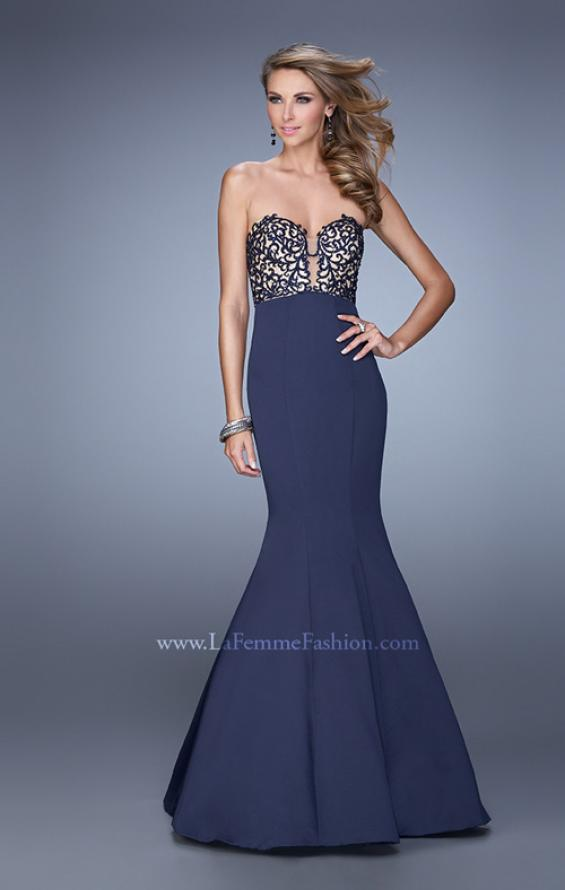 Picture of: Long Mermaid Prom Dress with Beaded Embroidery in Navy, Style: 21443, Main Picture