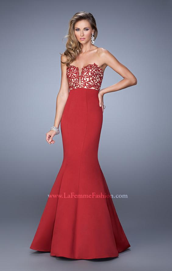 Picture of: Long Mermaid Prom Dress with Beaded Embroidery in Red, Style: 21443, Detail Picture 1