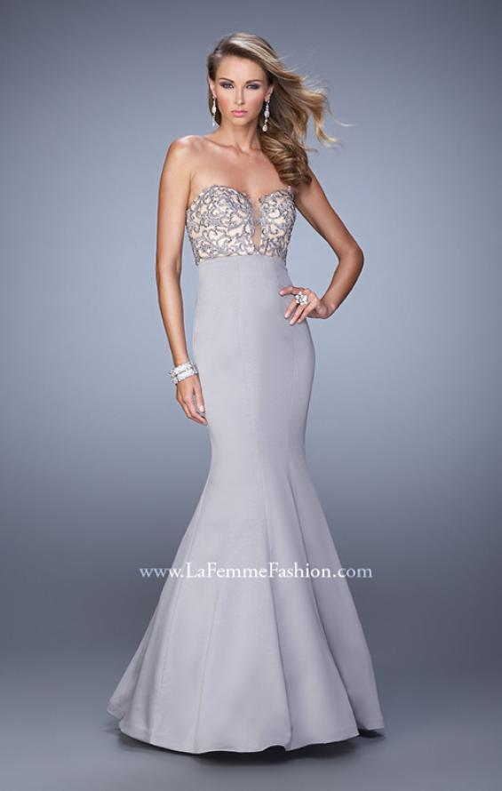 Picture of: Long Mermaid Prom Dress with Beaded Embroidery in Silver, Style: 21443, Detail Picture 2