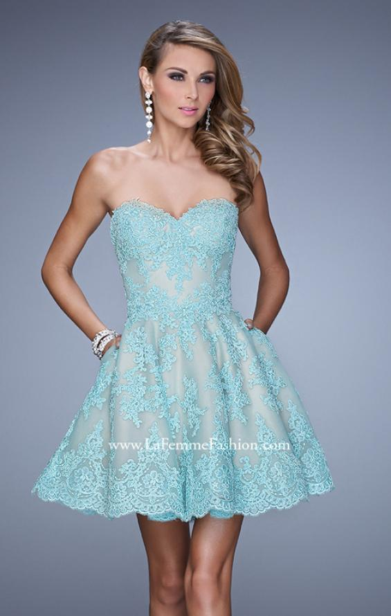 Picture of: Short Lace Cocktail Dress with Pockets in Mint, Style: 21446, Main Picture