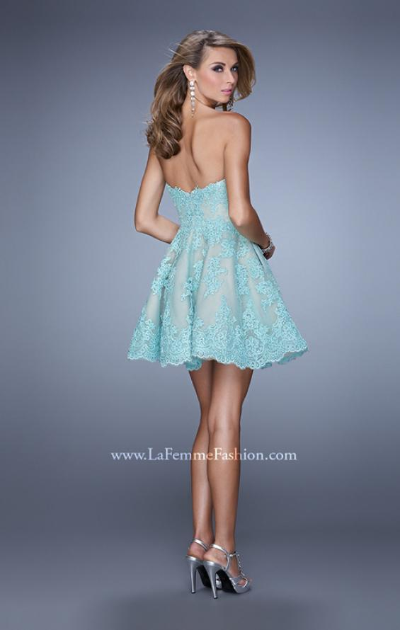 Picture of: Short Lace Cocktail Dress with Pockets in Mint, Style: 21446, Back Picture
