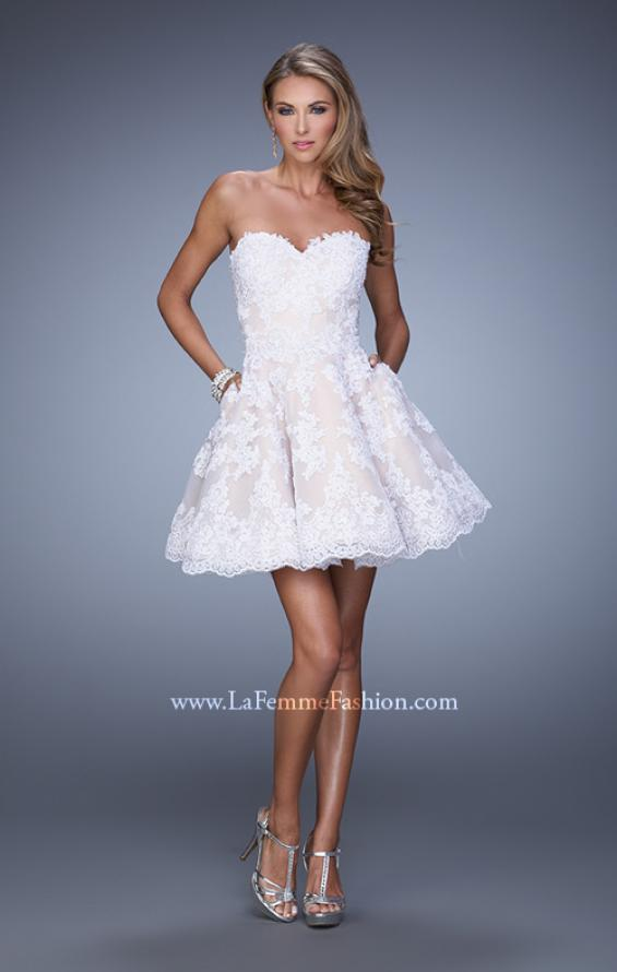 Picture of: Short Lace Cocktail Dress with Pockets in White, Style: 21446, Detail Picture 1