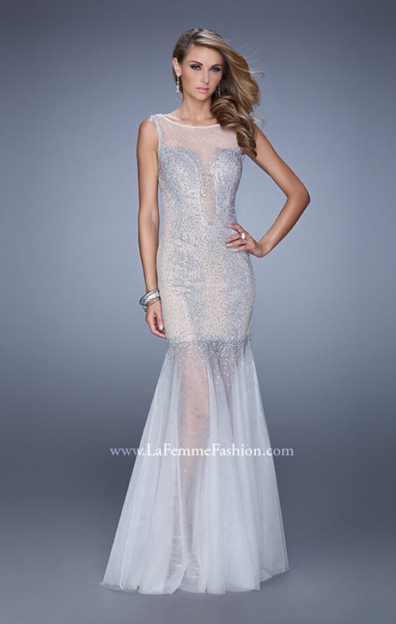 Picture of: Mermaid Dress with Tulle Skirt and Iridescent Stones in Nude, Style: 21466, Main Picture