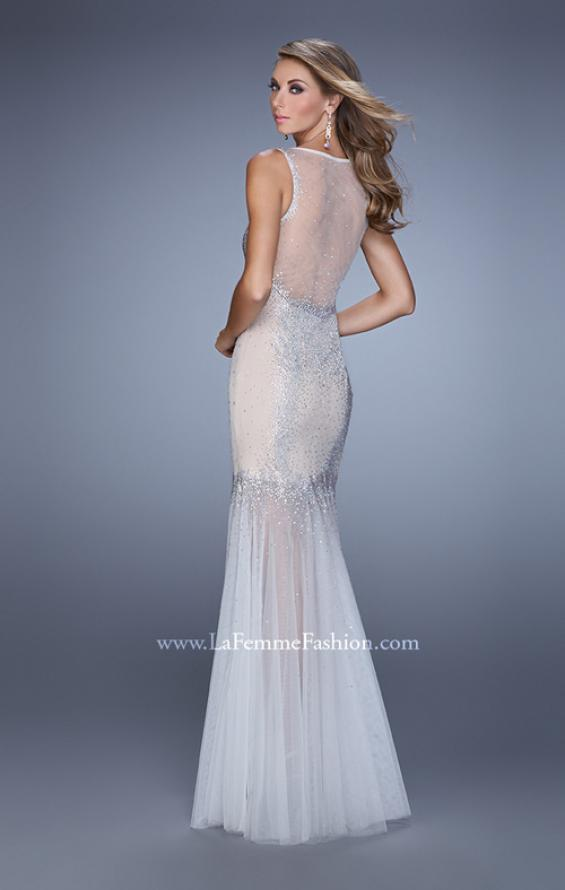 Picture of: Mermaid Dress with Tulle Skirt and Iridescent Stones in Nude, Style: 21466, Back Picture