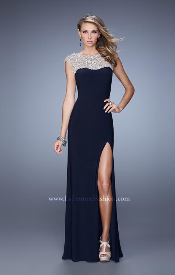 Picture of: Jersey Prom Dress with Sheer Detail and Side Leg Slit, Style: 21467, Main Picture