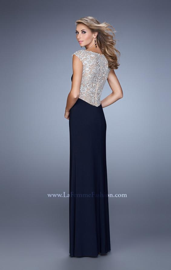 Picture of: Jersey Prom Dress with Sheer Detail and Side Leg Slit, Style: 21467, Back Picture