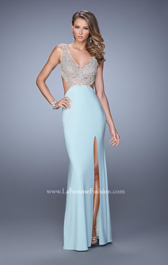 Picture of: Sheer Bodice Prom Dress with V Neck and Side Cut Outs in Mint, Style: 21469, Main Picture