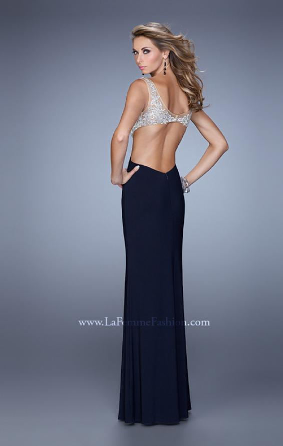 Picture of: Sheer Bodice Prom Dress with V Neck and Side Cut Outs in Navy, Style: 21469, Back Picture