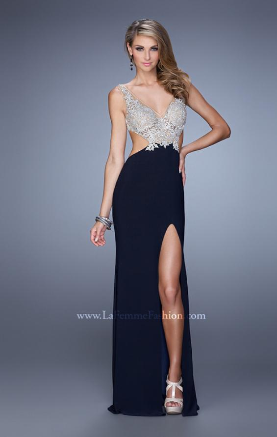 Picture of: Sheer Bodice Prom Dress with V Neck and Side Cut Outs in Navy, Style: 21469, Detail Picture 1