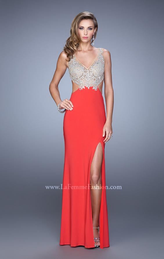Picture of: Sheer Bodice Prom Dress with V Neck and Side Cut Outs in Orange, Style: 21469, Detail Picture 2