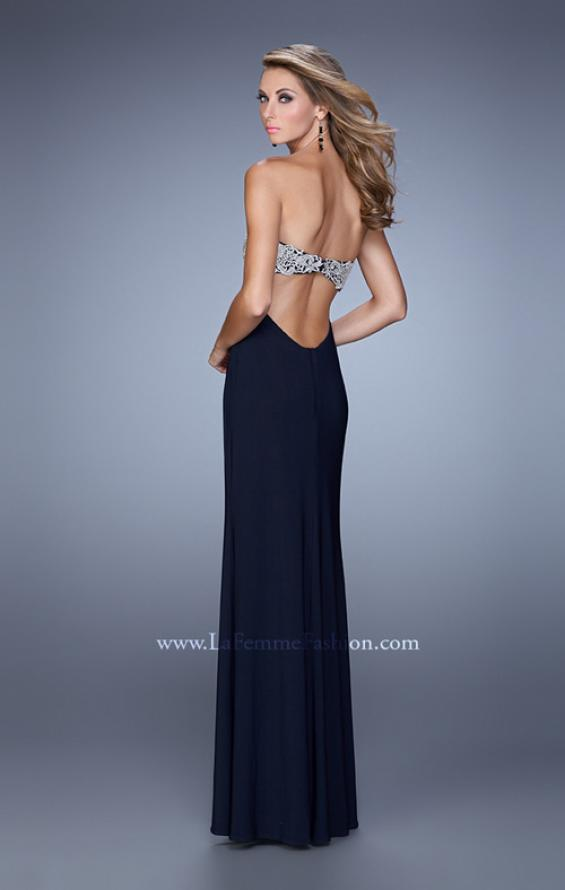 Picture of: Embroidered Strapless Prom Dress with Side Leg Slit in Navy, Style: 21476, Back Picture