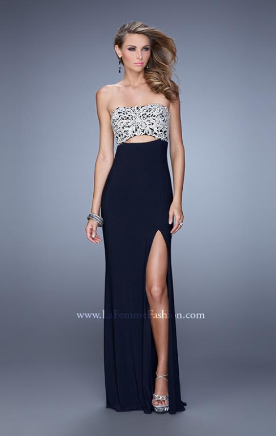 Picture of: Embroidered Strapless Prom Dress with Side Leg Slit in Navy, Style: 21476, Detail Picture 1