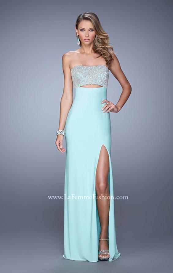 Picture of: Embroidered Strapless Prom Dress with Side Leg Slit in Mint, Style: 21476, Detail Picture 2