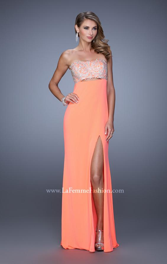 Picture of: Embroidered Strapless Prom Dress with Side Leg Slit in Orange, Style: 21476, Detail Picture 3