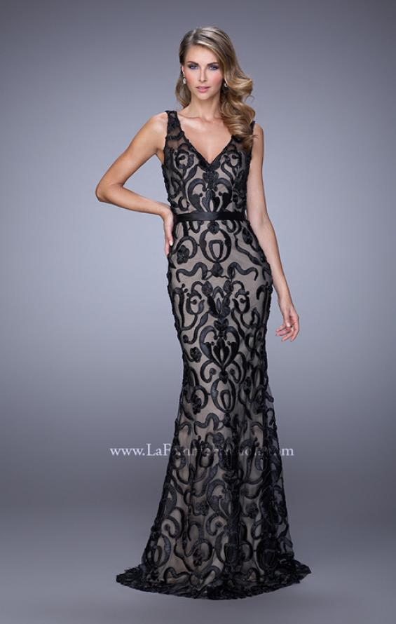 Picture of: Lace Prom Dress with Low V Back and Attached Belt in Black, Style: 21491, Main Picture