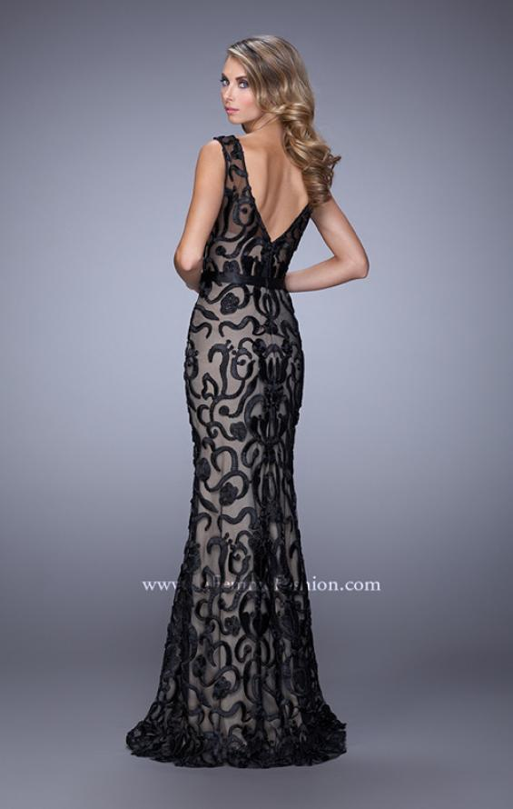 Picture of: Lace Prom Dress with Low V Back and Attached Belt in Black, Style: 21491, Back Picture