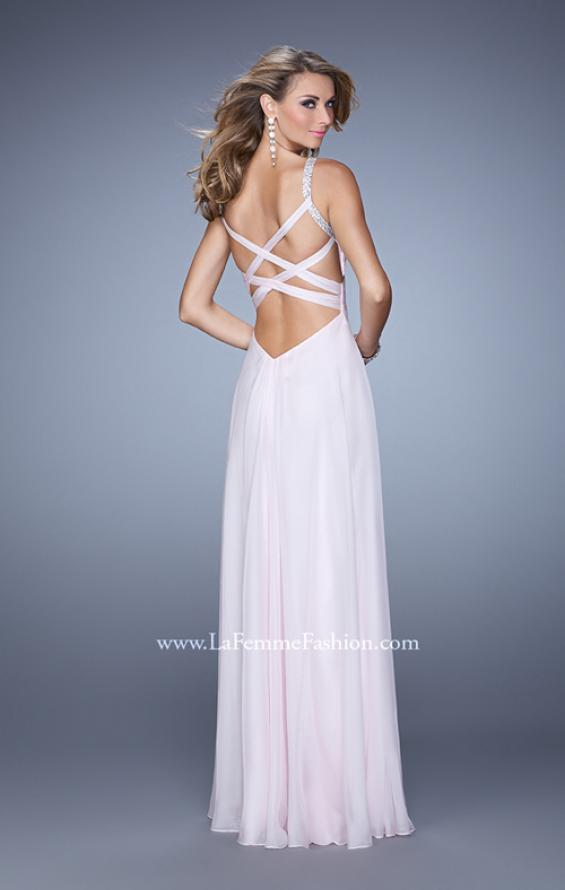 Picture of: Chiffon Prom Dress with Basket Weave Detail and Pearls in Pink, Style: 21502, Main Picture