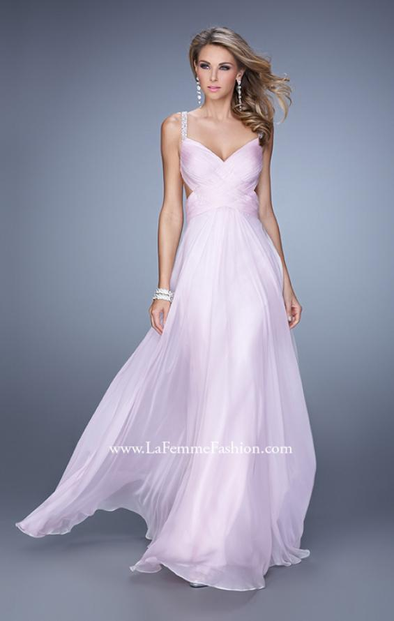Picture of: Chiffon Prom Dress with Basket Weave Detail and Pearls in Pink, Style: 21502, Back Picture