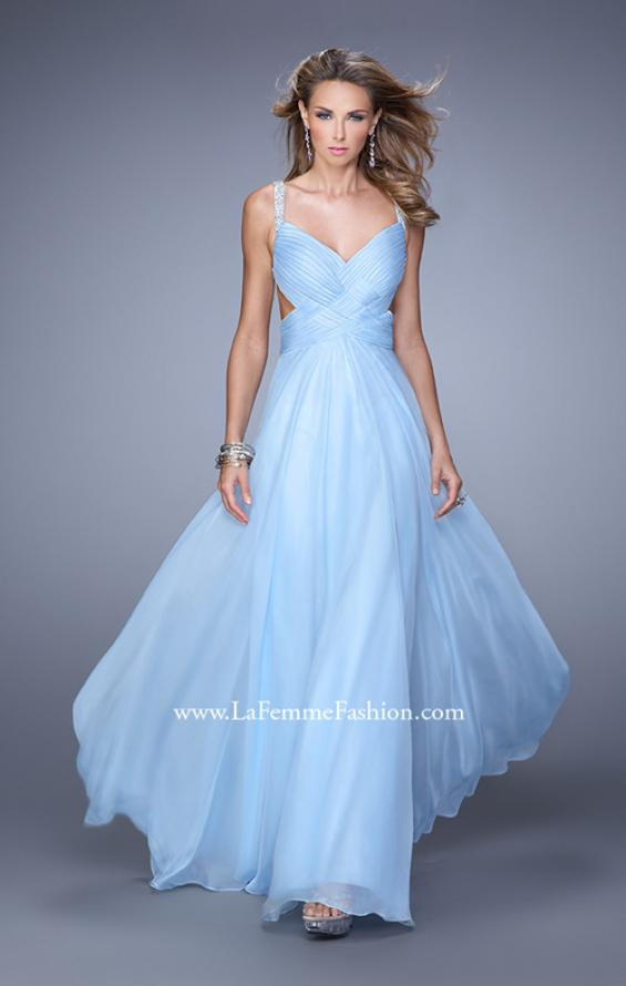 Picture of: Chiffon Prom Dress with Basket Weave Detail and Pearls in Blue, Style: 21502, Detail Picture 1