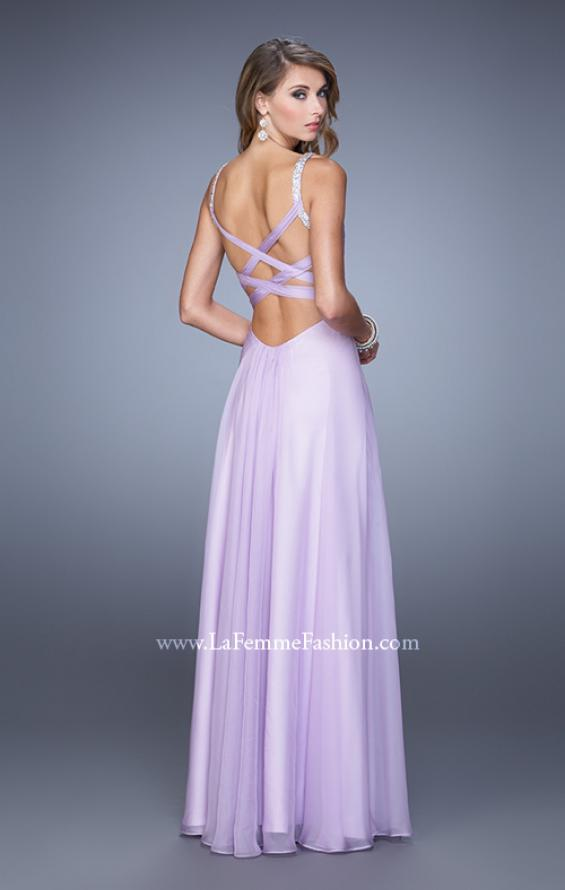Picture of: Chiffon Prom Dress with Basket Weave Detail and Pearls in Purple, Style: 21502, Detail Picture 2