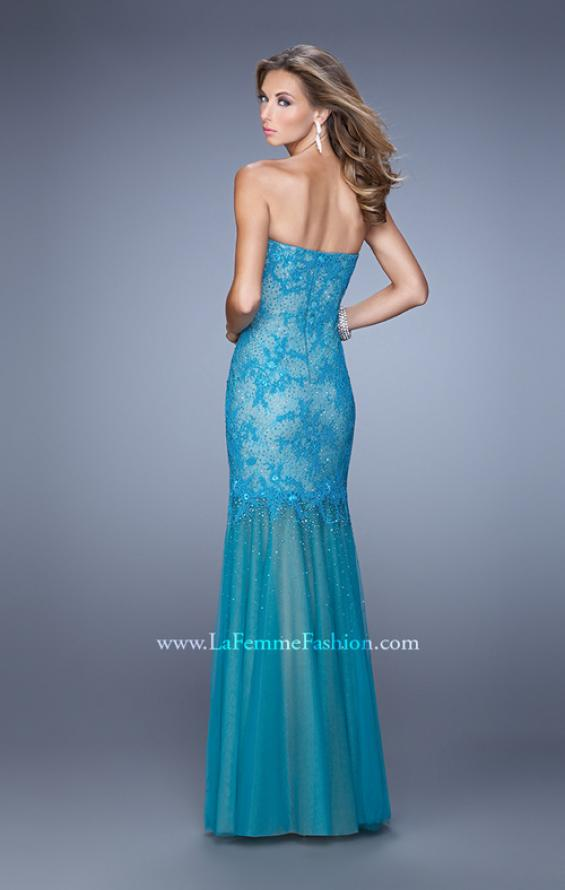 Picture of: Lace Sheer Tulle Skirt Prom Dress with Rhinestones, Style: 21504, Back Picture