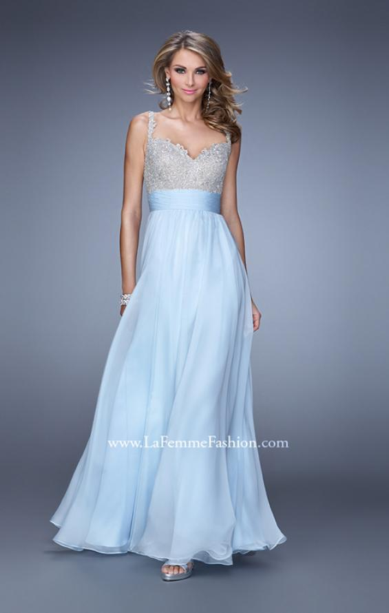 Picture of: Jeweled Encrusted Embroidered Long Chiffon Prom Dress in Blue, Style: 21505, Main Picture