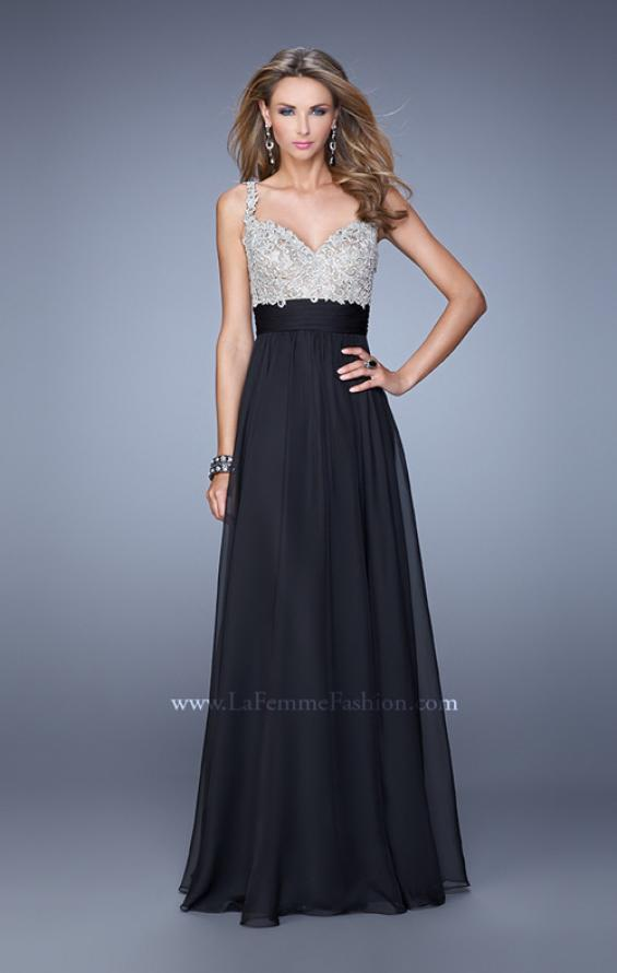 Picture of: Jeweled Encrusted Embroidered Long Chiffon Prom Dress in Black, Style: 21505, Detail Picture 8