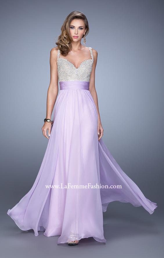 Picture of: Jeweled Encrusted Embroidered Long Chiffon Prom Dress in Purple, Style: 21505, Detail Picture 11