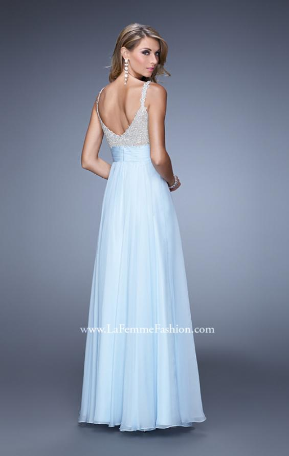 Picture of: Jeweled Encrusted Embroidered Long Chiffon Prom Dress in Blue, Style: 21505, Back Picture