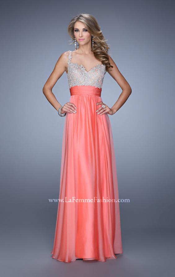 Picture of: Jeweled Encrusted Embroidered Long Chiffon Prom Dress in Coral, Style: 21505, Detail Picture 3