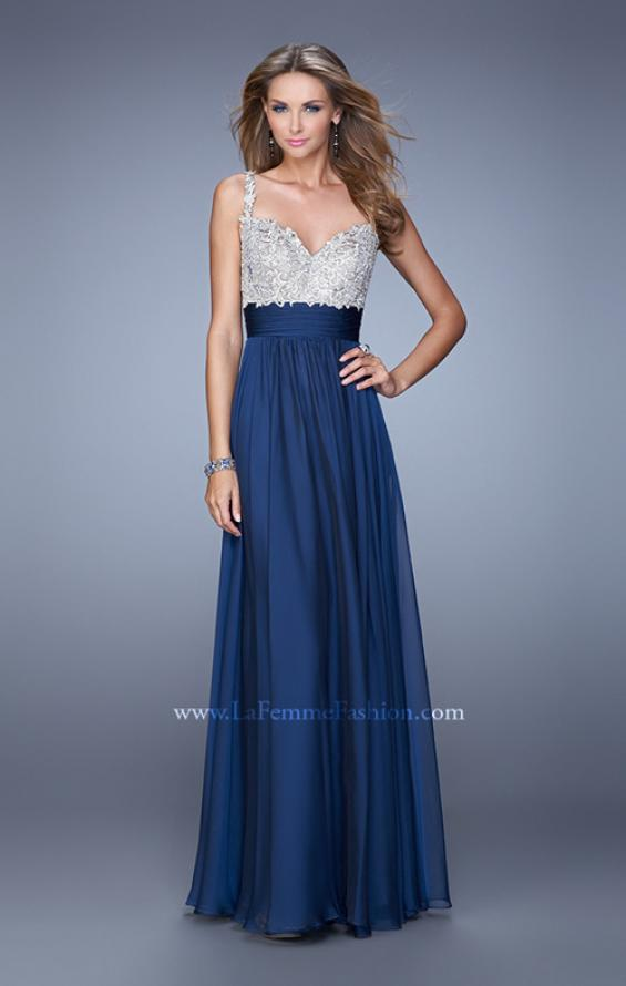 Picture of: Jeweled Encrusted Embroidered Long Chiffon Prom Dress in Navy, Style: 21505, Detail Picture 5