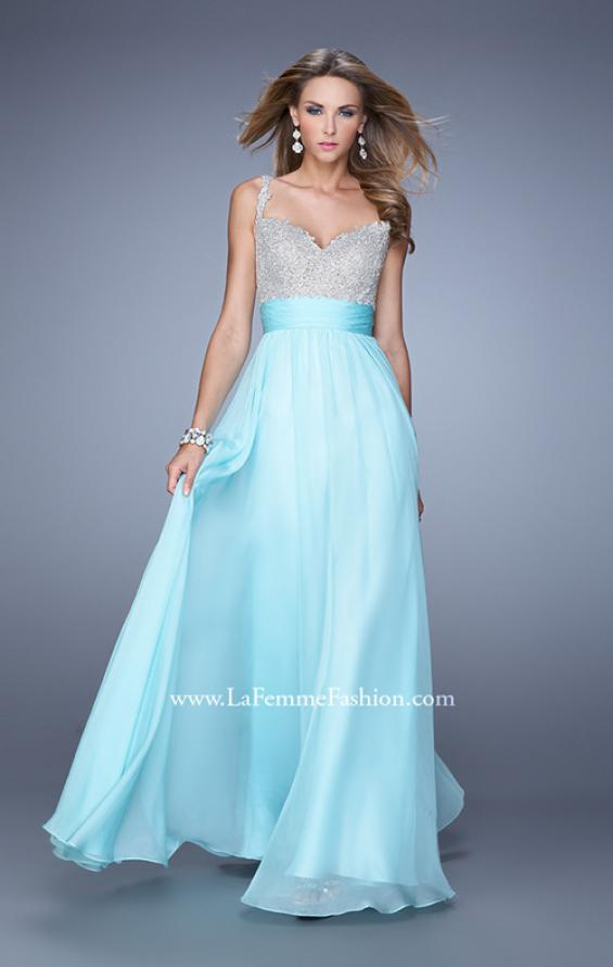 Picture of: Jeweled Encrusted Embroidered Long Chiffon Prom Dress in Blue, Style: 21505, Detail Picture 6